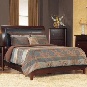 Modus City II Leatherette Low Profile Sleigh Bed in Coco