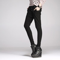 Rock Style Four Buckle PU Panel Harem Pants for Women, Shop online for $34.50 Cheap Pants code 704834 - Eastclothes.com
