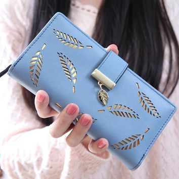new arrival wallet women high quaity Leaf Bifold Wallet Leather Clutch Card Holder Purse Lady Long wallets carteira feminina #0