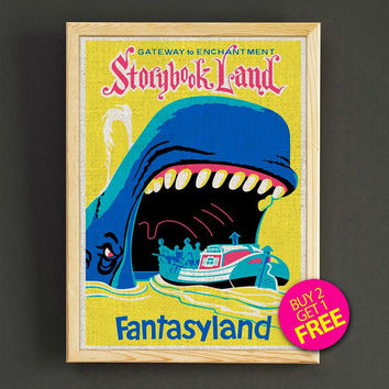 Vintage Disney Attraction Poster Fantasyland Gateway to Storybook Land Print Home Wall Decor Gift Linen Print - Buy 2 Get 1 FREE - 350s2g