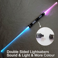 2 Pieces Lightsaber Sound Light Sword Toy Cosplay Props Kids Double Light Saber Toy Sword Weapons for Boys Christmas Gifts