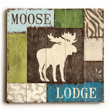 Moose Lodge by Artist Debbie Dewitt Wood Sign