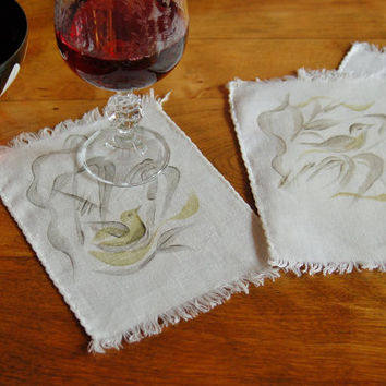 Stenciled Linen Coasters, Set of 4 Bird of Paradise Cloth Cocktail Napkins, Drink Napkin Coaster, Bridal Shower