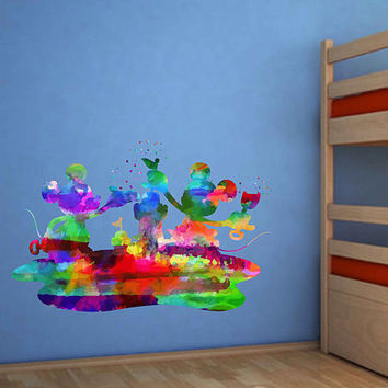kcik1999 Full Color Wall decal Watercolor Character Disney Mickey Mouse Minnie Mouse Character Disney children's room Sticker Disney