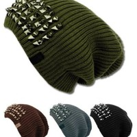 Women's Solid Slouchy Beanie Hat with Spikes in the Front- Black