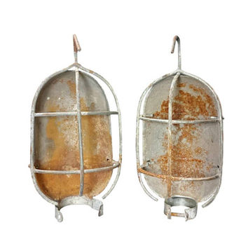 Industrial Wire Cage Light Guard Pair Hanging Work Lamp Parts Salvage Rust Metal Assemblage Steampunk Art Decor Repurpose Farmhouse Lighting