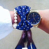 Navy & White Polka Dotted Bow Bracelet