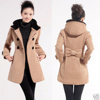 2011 Womens Woolen Double breasted Hooded Trench Coat #10