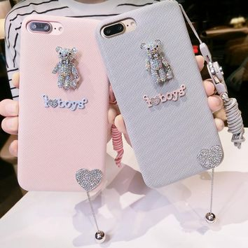 Korean cartoon creativity rhinestones for the iphone6 7plus mobile phone shell shell soft tide female lanyard