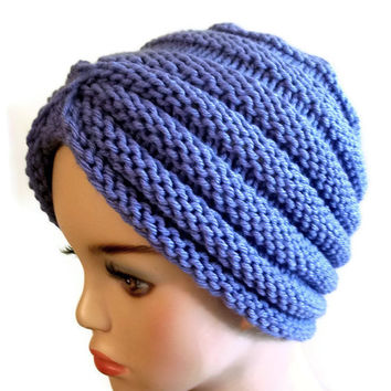 Knit Turban Hat Women Purple