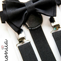 Suspenders & Bow Tie Set  ==  Black Suspenders  ==  Black Bow Tie  ==  Ring Bearer Set
