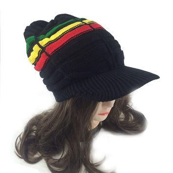 Women's hats fall fashion teen Warm Cap Winter Reggae Multi-colored rainbow Striped hat Bob Marley Jamaica Rasta Beanies visor