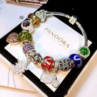 Pretty Flower Pattern Pandora 925 Sterling Silver Inspirational Bracelets