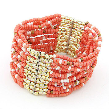 Bohemian Style Handcrafted Pink Bead Bracelet,Women's Fashion Accessory, Party Jewelry, Birthday Gift, Pretty Accessory 10091167
