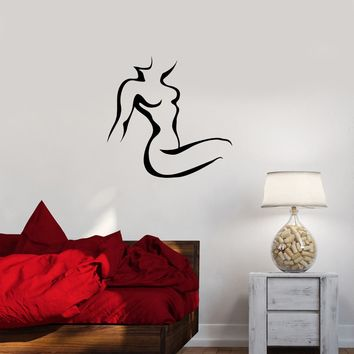 Wall Decal Silhouette Girl Sexy Woman Naked Vinyl Sticker (ed1162)