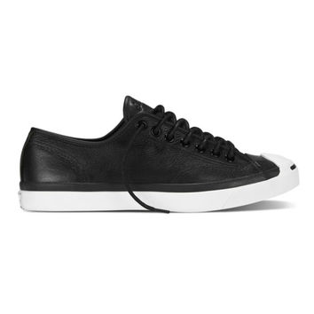 Converse Jack Purcell Tumbled Leather Ox (Black)