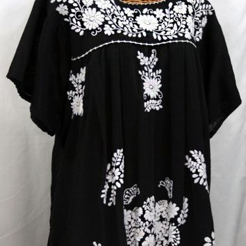 """La Mariposa Libre"" Plus Size Mexican Peasant Blouse - Black"