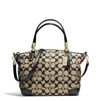 MADISON SMALL KELSEY SATCHEL IN PRINTED SIGNATURE FABRIC