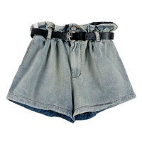 Faded Denim Shorts with High Ruffle Waist
