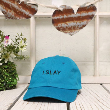 I SLAY Baseball Hat Low Profile Embroidered Baseball Caps Dad Hats Aqua Blue