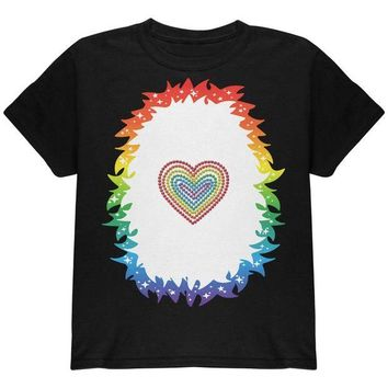 DCCKJY1 Halloween Rainbow Heart Unicorn Costume Pony Youth T Shirt