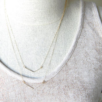 Layered Gold Chevron Necklaces / Gold Chevron Layering Necklaces / Everyday Necklaces / Delicate Gold Necklaces / Minimalist / Geometric