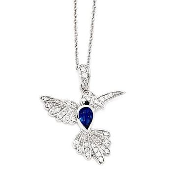 Cheryl M Sterling Silver Blue Hummingbird Pendant Necklace