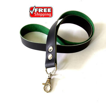 Free shipping !! Genuine black and green leather lanyard with metal clasp. Key holder, key fob, key chain.  Free shipping worldwide!