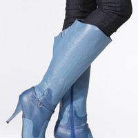 Wild Rose Royal Blue Faux Snake Skin Pointy Toe Boots