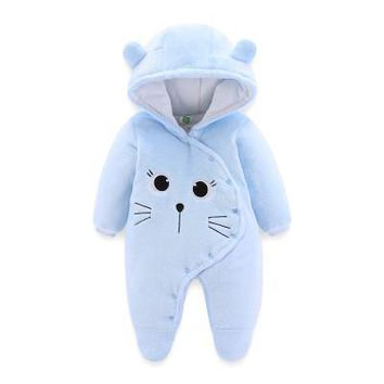 New Born Baby Winter Thicken Rompers Baby Boys Girls Warm Cartoon Clothes Infant Baby Velvet Jumpsuit Toddler Out Pajamas