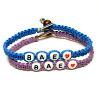 Bracelets for Couples or Best Friends, Light Purple and Bright Blue, BAE, Before Anyone Else, Hemp Jewelry