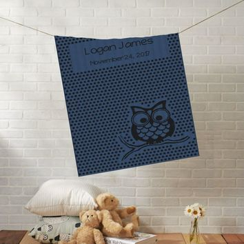 Knit Baby Blanket | Owl with Dots | Custom Name Stroller Blanket | Boy or Girl | 100% Cashwool