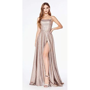 Prom A-Line Metallic Ball Gown Copper Lace Up Back Leg Slit