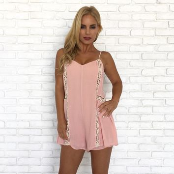 Harper Crochet Romper in Blush Pink