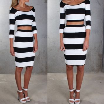 Black and White Stripe Two Piece Dress
