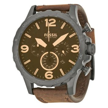 Fossil Nate Chronograph Brown Dial Brown Leather Mens Watch JR1487