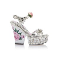 Dolce & Gabbana Metallic Embellished Leather Platform Sandals
