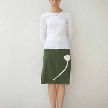 Olive Green T Shirt Skirt / Recycled / Upcycled / Knee Length / Earthy / Cotton / Soft / Fashion / For Her / Spring / Summer / ohzie