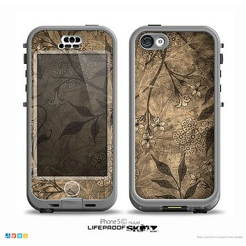 The Brown Aged Floral Pattern Skin for the iPhone 5c nüüd LifeProof Case