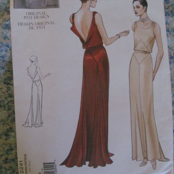 UnCut 1930's Design Reprint Vogue Sewing Pattern, 2241! 4 sizes to choose from Women's 8-14, Evening Gowns, Formal Dresses, Bridesmaid