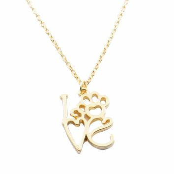 Hollow Love Letter Pendant Necklace Personality Dog Feet Chain GD