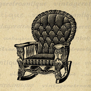 Printable Antique Chair Digital Download Vintage Furniture Image Graphic Clip Art for Transfers Printing etc HQ 300dpi No.1179