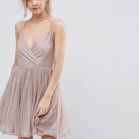 ASOS PETITE Metallic Tulle Mini Dress at asos.com