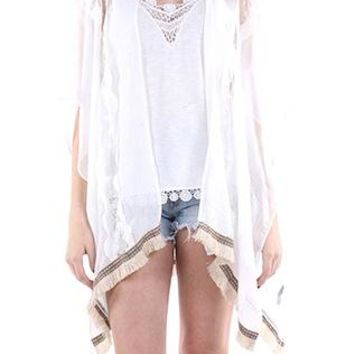 Poncho Tribal Pattern Ribbon Trim Fringe Lace Sheer
