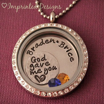 Large Crystal Floating Charm Locket / God Gave Me You / Name Locket / Hand Stamped Necklace