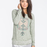 Full Tilt Distressed Marled Womens Sweatshirt Olive  In Sizes
