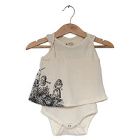 Baby Girl bodysuit Dress Baby Clothes - Alice & the talking flowers print