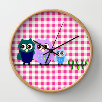 Pretty Owls  Wall Clock by Elena Indolfi