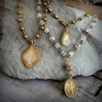 Long Brass Beaded Chain Religious Mary Pendant Charm Necklace