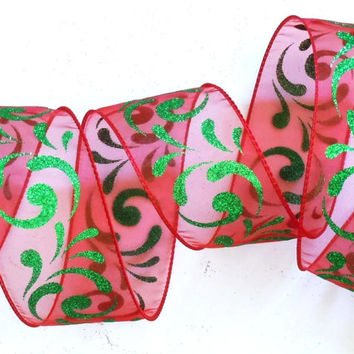 50-yd Roll Christmas wired ribbon wired Christmas ribbon decorations sparkle Filigree Swirls Green Red Christmas ribbon wreaths make ribbon